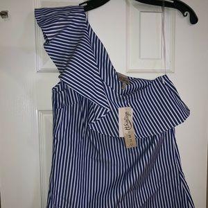 NWT Como Vintage one shoulder striped shirt